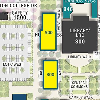 Detailed map of where the 300-500 Buildings are on Fullerton Campus